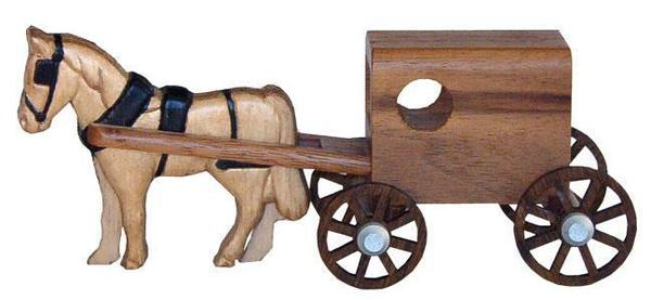 Walnut Wood Toy Amish Horse and Buggy