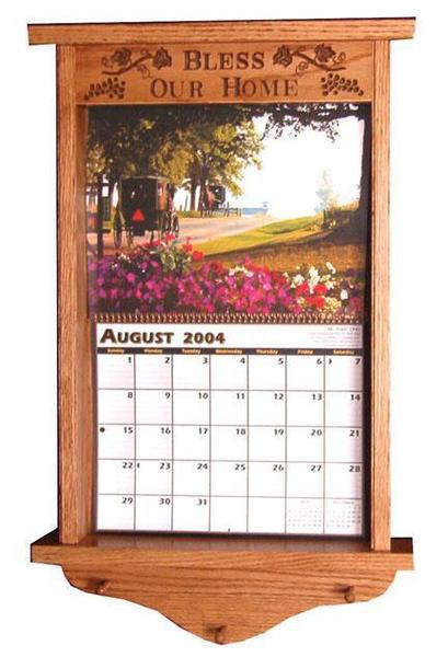 Amish Hardwood Carved Calendar Frame