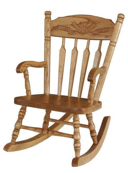 Amish Hardwood Child's Wheat Rocker - Post Type