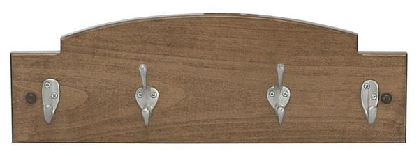 Amish Hardwood Coat Rack Key Holder with Two Hooks and Two Key Hooks