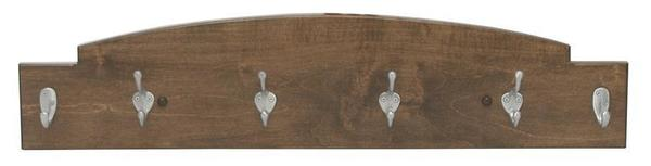 Amish Hardwood Coat Rack Key Holder with Four Hooks and Two Key Hooks