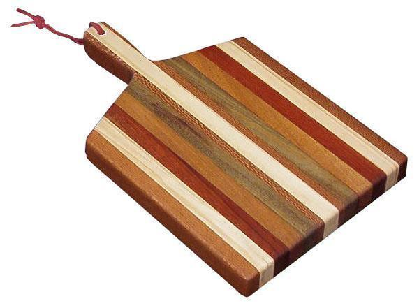 Amish Handcrafted Exotic Wood Cutting Board with Handle