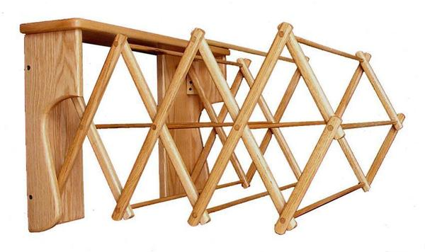 Amish Oak Wood Wall Drying Rack