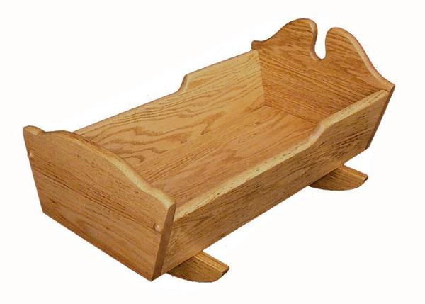 Amish Oak Wood Doll Cradle with Solid Sides
