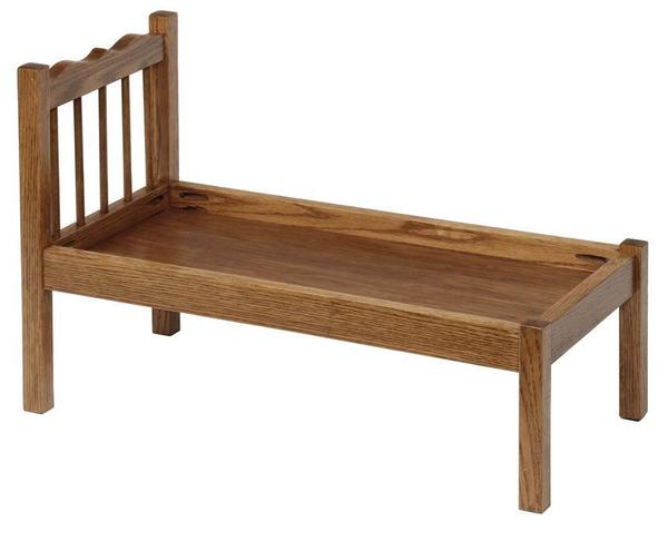 Amish Oak Wood Doll Bed with Spindles