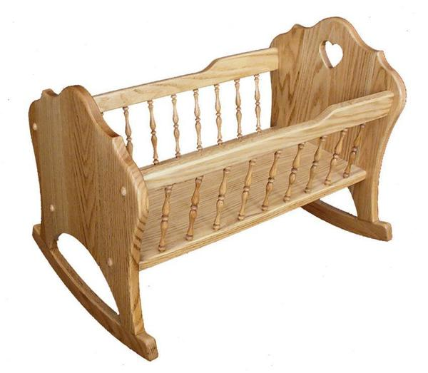 Amish Hardwood Doll Cradle with Tall Spindles
