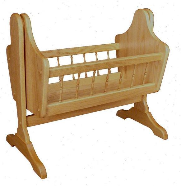 Amish Oak Wood Swinging Doll Cradle