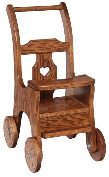 Amish Oak Wood Doll Stroller