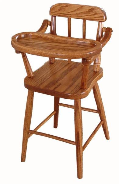 Amish Oak Wood Doll Highchair with Spindle