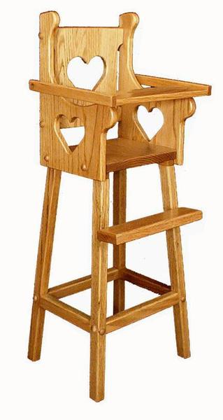 Amish Oak Wood Doll Highchair with Heart