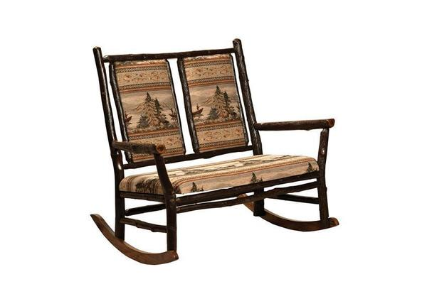 Amish Rustic Hickory Furniture - Grandpa Double Rocker
