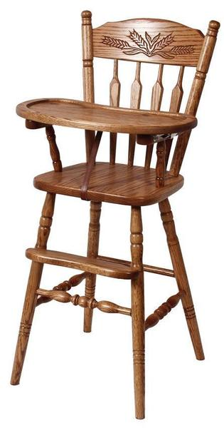 Amish Hardwood Post Type Highchair with Slide Tray and Wheat