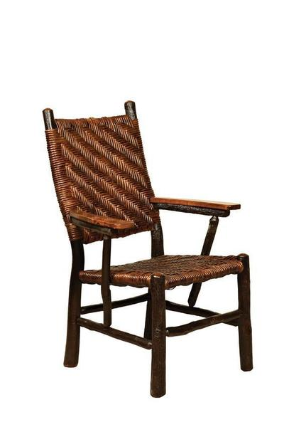 Amish Rustic Hickory Fireside Chair with Caning