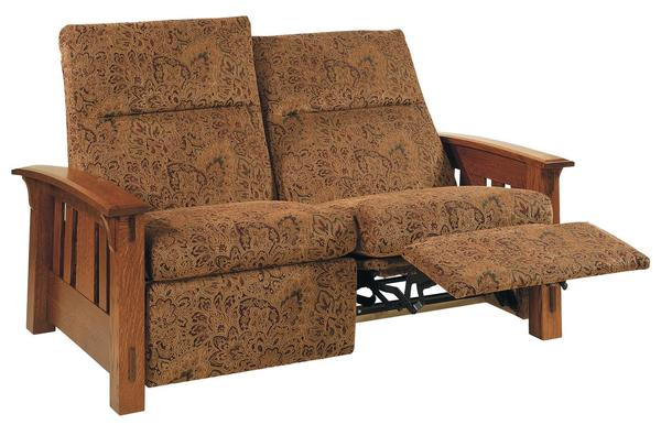 Amish McCoy Mission Wall Hugger Reclining Loveseat