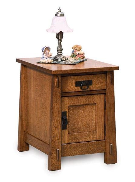 Amish Modesto Enclosed End Table with Drawer and Door