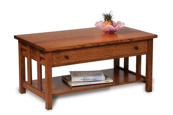 Amish Kascade Mission Open Coffee Table with Drawer