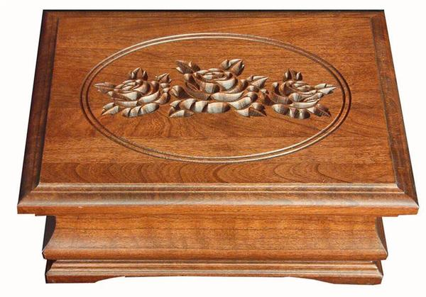 Amish Hardwood Jewelry Box with Carved Rose Lid