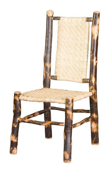Amish Rustic Hickory Dining Chair with Cane Back and Seat