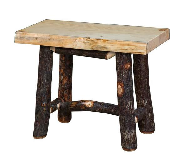 Amish Rustic Hickory Backless Bench with Pine Seat