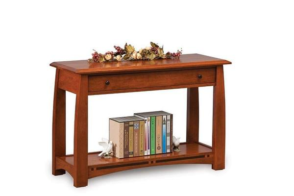 Amish Boulder Creek Mission Open Sofa Table with Drawer