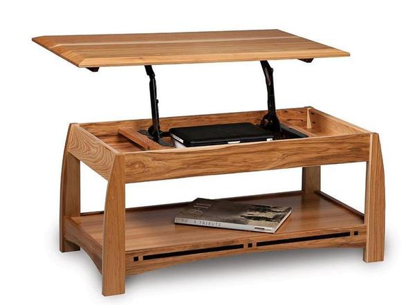 Amish Boulder Creek Mission Open Lift Top Coffee Table with Counter Weight