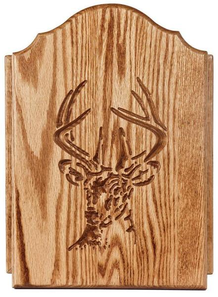 Amish Oak Wood Key Cabinet with Deer Door