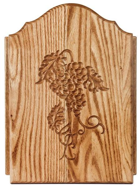 Amish Oak Wood Key Cabinet with Grape Door