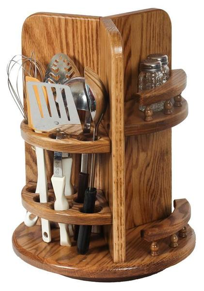 Amish Wood Kitchen Utensil Lazy Susan With Paper Towel Holder And Spice Rack