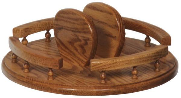 Amish Oak Tabletop Lazy Susan with Napkin Holder