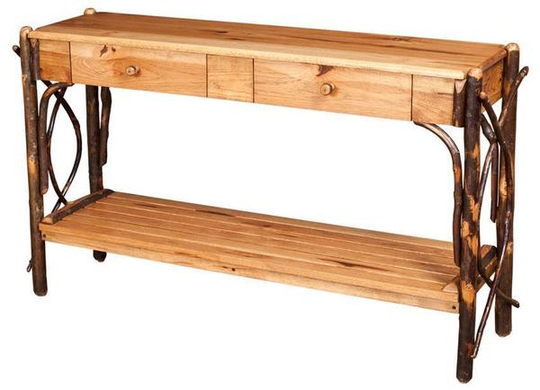 Amish Rustc Hickory Northwood Sofa Table with Dovetailed Drawers