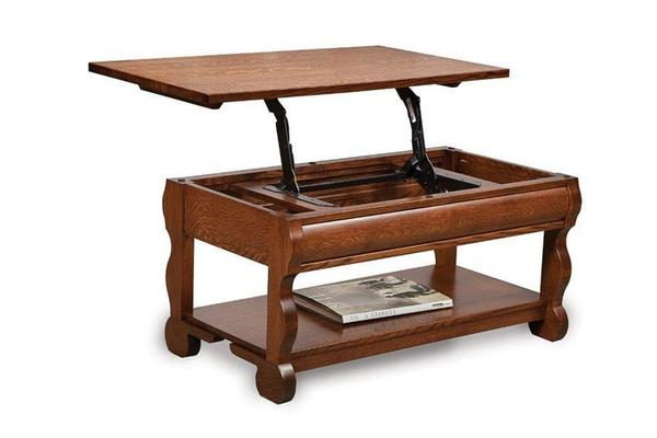 Amish Old Classic Sleigh Open Lift Top Coffee Table with Counter Weight