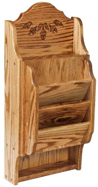 Amish Hardwood Acorn Letter Holder and Key Cabinet