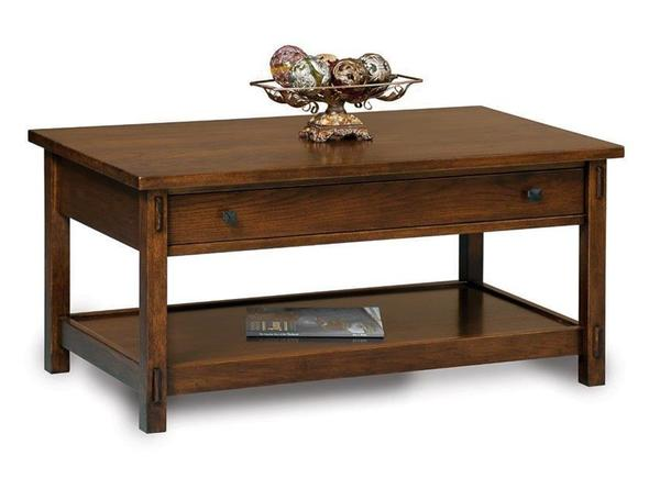 Amish Centennial Mission Open Coffee Table with Drawer