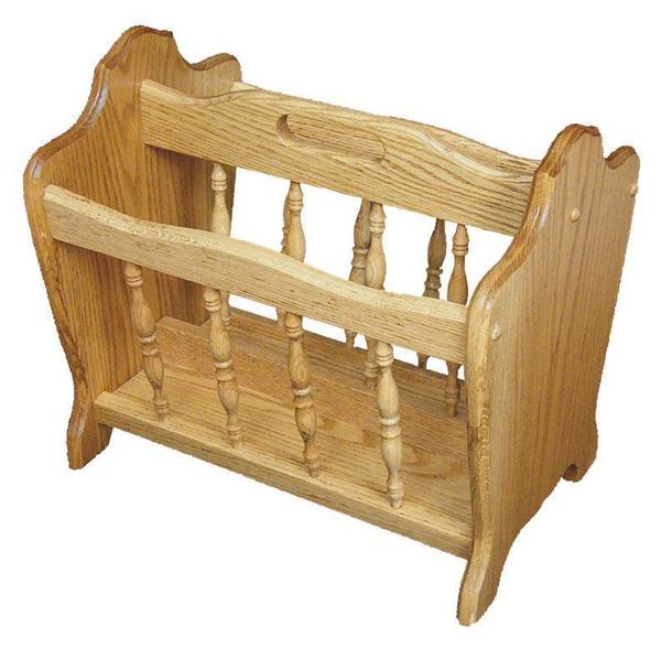 Amish Hardwood Medium Magazine Rack with Spindle