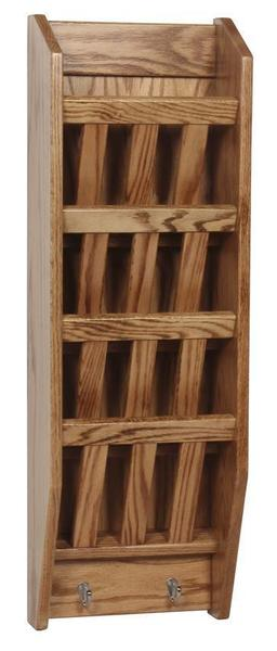 Amish Hardwood Mission Wall Mounted Four Tier Magazine Rack