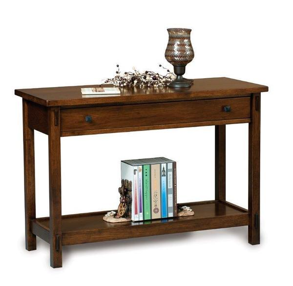Amish Centennial Mission Open Sofa Table with Drawer