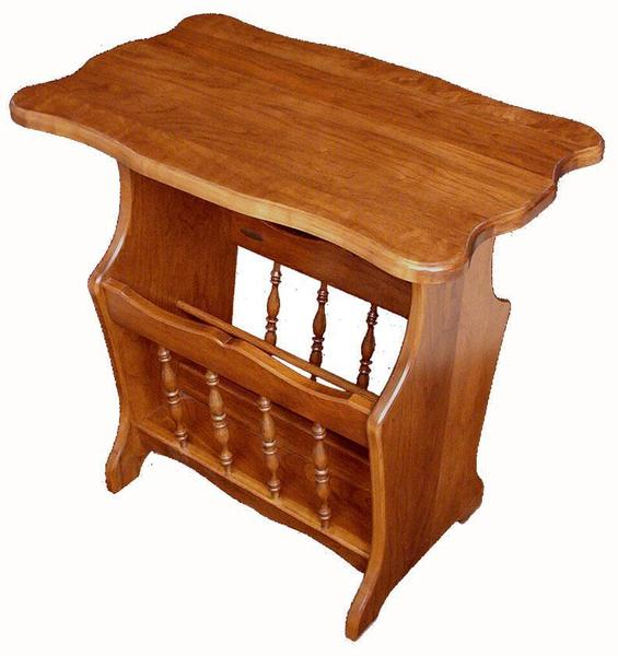Amish Hardwood Magazine Stand with Scalloped Top
