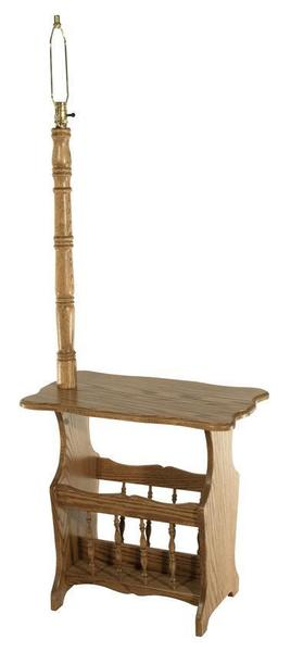 Amish Oak Wood Magazine Rack with Scalloped Top and Turned Lamp Post