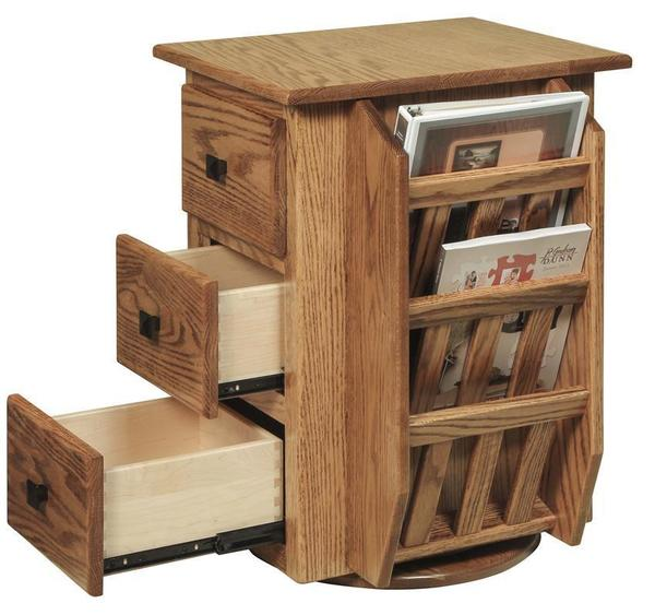 Amish Hardwood Magazine Stand with Swivel and Book Shelf
