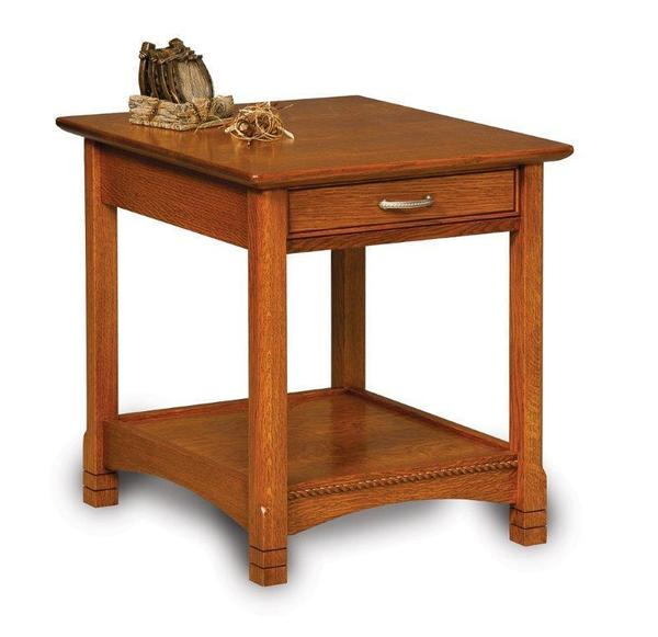 Amish West Lake Open or Enclosed End Table with Drawer