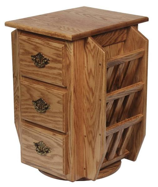 Amish Hardwood Magazine Stand with Swivel and Storage