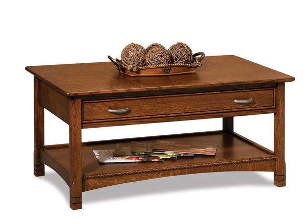 Amish West Lake Open Coffee Table with Drawer