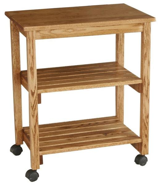 Amish Hardwood Microwave Serving Cart with Slatted Shelves