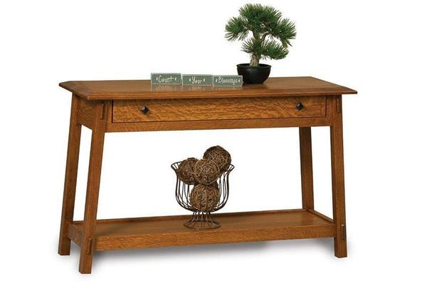 Amish Colbran Mission Open Sofa Table with Drawer