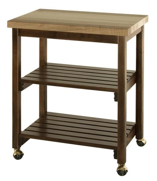 Amish Hardwood Microwave Serving Cart with Butcher Block Top and Slatted Shelves