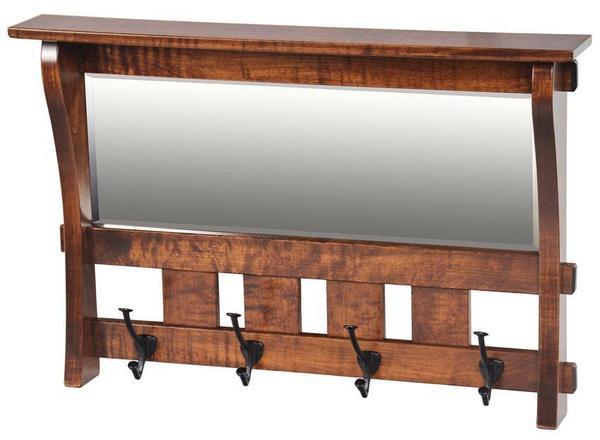 Amish Hardwood Aspen Small Mirror with Four Hooks