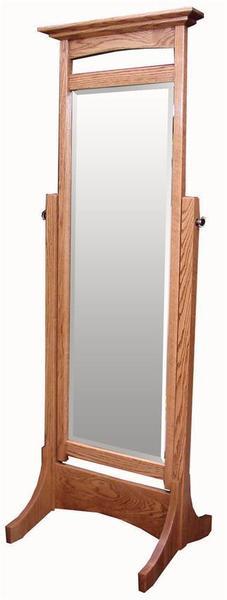 Amish Hardwood Shaker Cheval Mirror