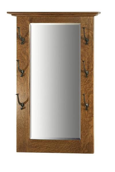 Amish Hardwood Hall Mirror with Six Mission Hooks