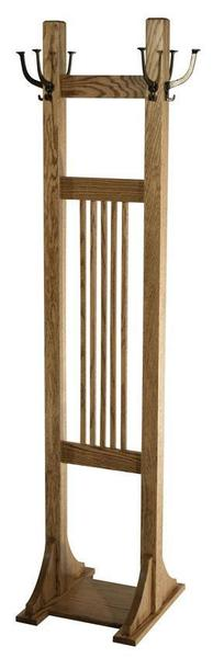 Amish Hardwood Mission Double Coat Tree with Six Mission Hooks