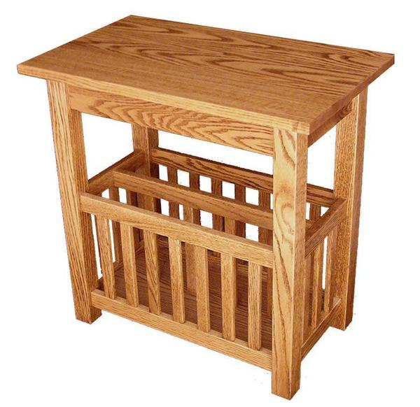 Amish Hardwood Mission End Table with Storage under Lid